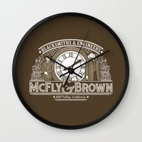 mcfly Wall Clocks featuring McFly & Brown Blacksmiths by Doodle Dojo
