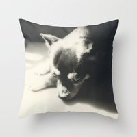 charlie Throw Pillows featuring Charlie by Leandro