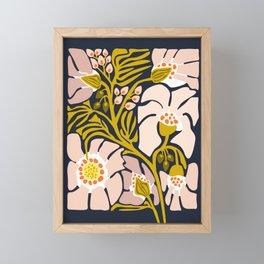 Backyard flower – modern floral illustration Framed Mini Art Print