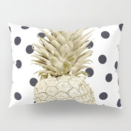 Gold Pineapple on Black and White Polka Dots Pillow Sham