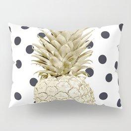 Gold Pineapple on Black and White Polka Dots Pillow Sham