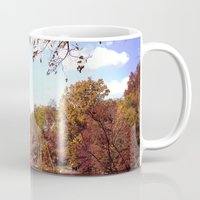 central park Mugs featuring central park by Penny Pixel