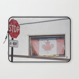4-Way stop and Canadian flag in window Laptop Sleeve