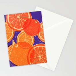 Oranges Block Print Stationery Cards
