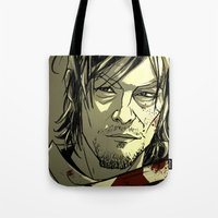 daryl Tote Bags featuring Daryl Dixon by David Cousens