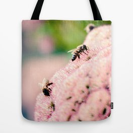 Bees on Flowers Tote Bag