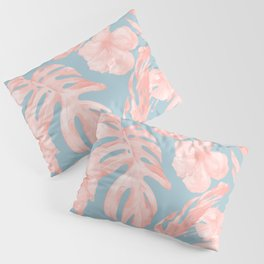 Island Life Millennial Pink on Pale Teal Blue Pillow Sham