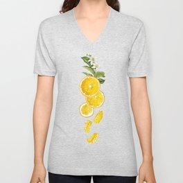 Patel background with orange fruits pattern Unisex V-Neck