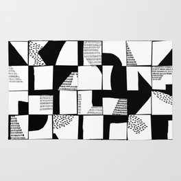 Black and White Typographical Fragmentation Cheater Quilt Rug