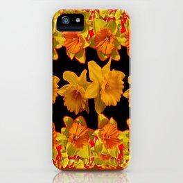 GOLDEN DAFFODILS GARDEN  COFFEE BROWN-BLACK ART iPhone Case