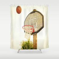 basketball Shower Curtains featuring Basketball by KimberosePhotography