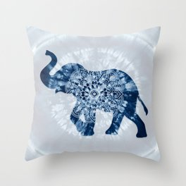 Elephant Mandala Indigo Blue Tie Dye Throw Pillow