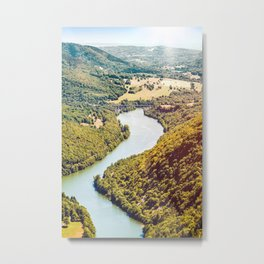 French countryside river aerial view in summer by bright sunset Metal Print