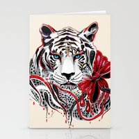 tiger Stationery Cards featuring White Tiger by Felicia Atanasiu