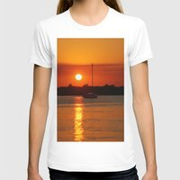 sailboat T-shirts featuring Sunset Sailboat by Yellow Tie