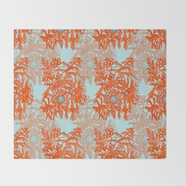 Orange and blue floral pattern Throw Blanket