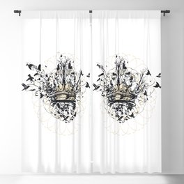 Crown and Birds Blackout Curtain
