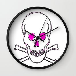 WHITE PINK SKULLS Wall Clock