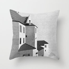 Castle in the Sky | Black & White Throw Pillow