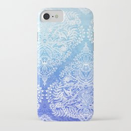 Out of the Blue - White Lace Doodle in Ombre Aqua and Cobalt iPhone Case