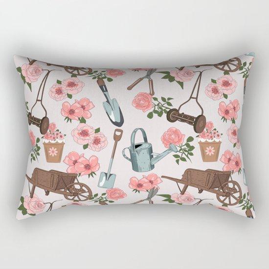Vintage gardening pattern Rectangular Pillow