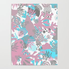Artistic nautical teal pink gray coral floral pattern Poster