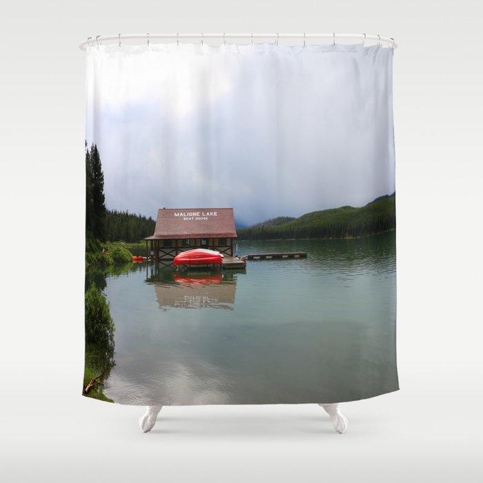 Maligne Lake Boathouse Shower Curtain