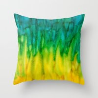 iggy Throw Pillows featuring BGY Iggy by Paper Rescue Designs