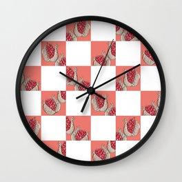 Pomegranate Pop Art in Pompeian Red Wall Clock