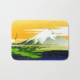 Vintage Mount Fuji Japanese Woodcut Print Bath Mat