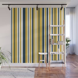 Vertical Stripes in Navy Blue, Mustard Yellow, and White Wall Mural