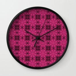 Pink Yarrow Floral Geometric Wall Clock
