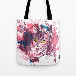 Cat Portrait, pink and purple shades, abstract acrylic painting Tote Bag