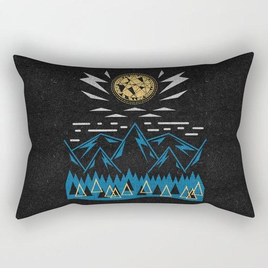 Sun Strike Over The Mountains Rectangular Pillow