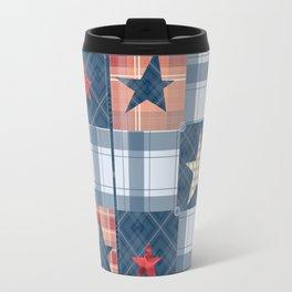 Blue denim plaid patchwork . Travel Mug