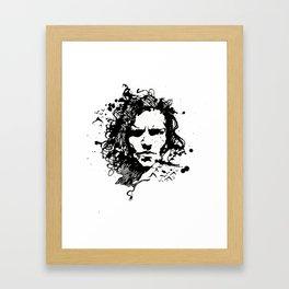Black ink splatter Framed Art Print