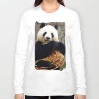 pandas Long Sleeve T-shirts featuring Munching Pandas by Santiago & James