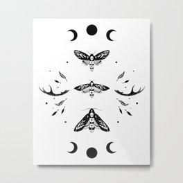 Death Head Moths Night - Black and White Metal Print