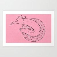 Pretty Pink Daschund  Art Print