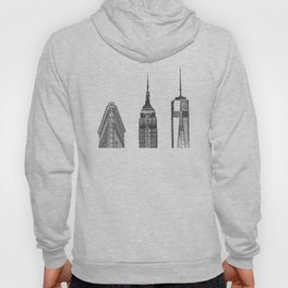 New York City Iconic Buildings-Empire State, Flatiron, One World Trade Hoody