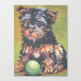 A realistic Yorkshire Terrier pup Portrait by L.A.Shepard fine art painting Canvas Print
