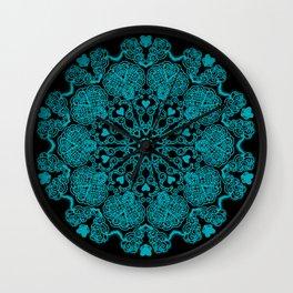 Mandala Project 230   Teal on Black Wall Clock