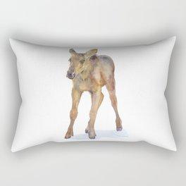Moose Calf Watercolor Painting Rectangular Pillow