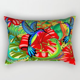 The Lizard, The Hummingbird and The Hibiscus Rectangular Pillow