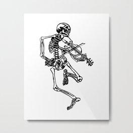 Skeleton Playing Violin Metal Print