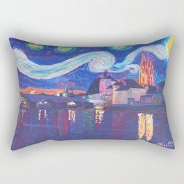 Starry Night in Regensburg  Van Gogh Inspirations on River Danube Rectangular Pillow