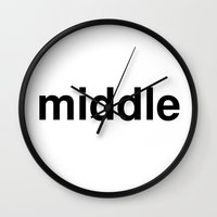 middle earth Wall Clocks featuring middle by linguistic94