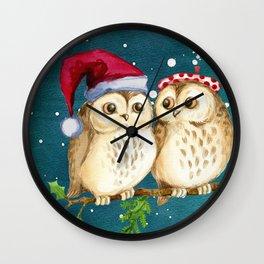 Christmas Owls (Color) Wall Clock