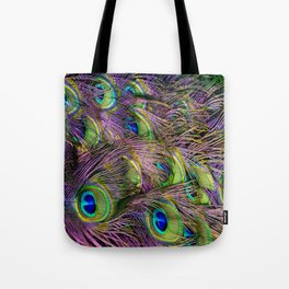 art nouveau bohemian turquoise purple teal green peacock feather Tote Bag