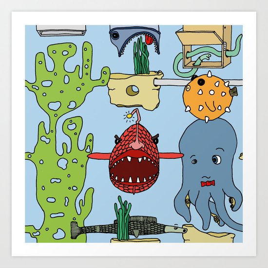 Deep under the sea Art Print